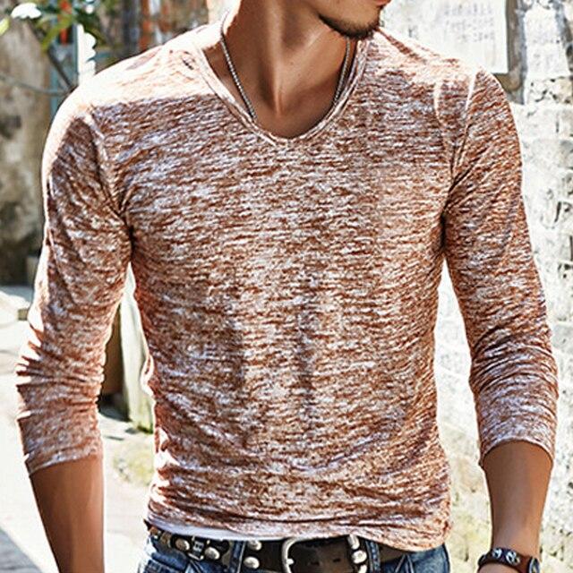 2018 NEW Trendy Summer Men T Shirt Casual Long Sleeve Slim Men's Basic Tops Tees Stretch T-shirt Mens Clothing Chemise Homme 4