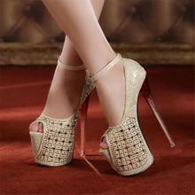 Free shipping spring women's 19cm ultra high heel platform high heel shoes sexy nightclub rhinestones peep toe single shoes
