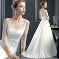Free Shipping Cheap Wedding Dresses 2016 Floor- length A-Line Romantic Bride Dress Cap Sleeve Three Quarter Custom Made vestidos