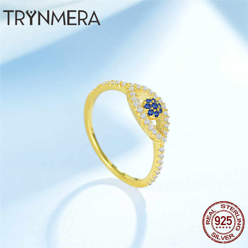 be593ab20d7e41 ... Anel Ring 925 Sterling Silver Gold Lucky Evil Eye Eyes Female Ring for  Women Clear CZ