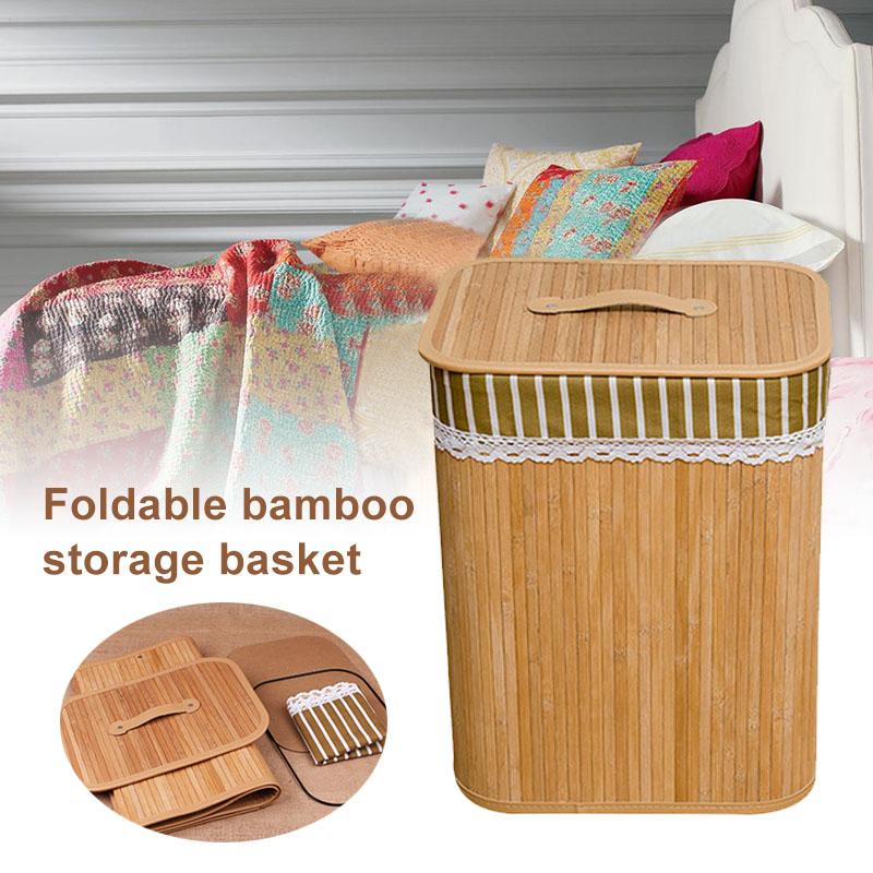 Folding Bamboo Storage Basket Large Storage Laundry Bin Box with Lid and Removable Lace 35X25X45cm E2S