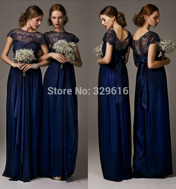 Long midnight blue evening dresses