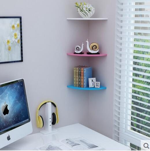 Berbentuk Kipas Sudut Rak Berlubang Gratis Segitiga Buku Partisi Dinding R Tidur Dapur Mandi Dekorasi Di Penyimpanan Pemegang