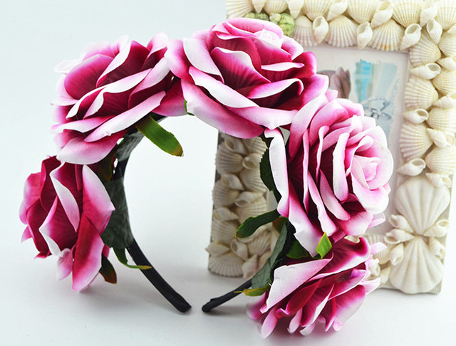 Bride women Rose Flower crown