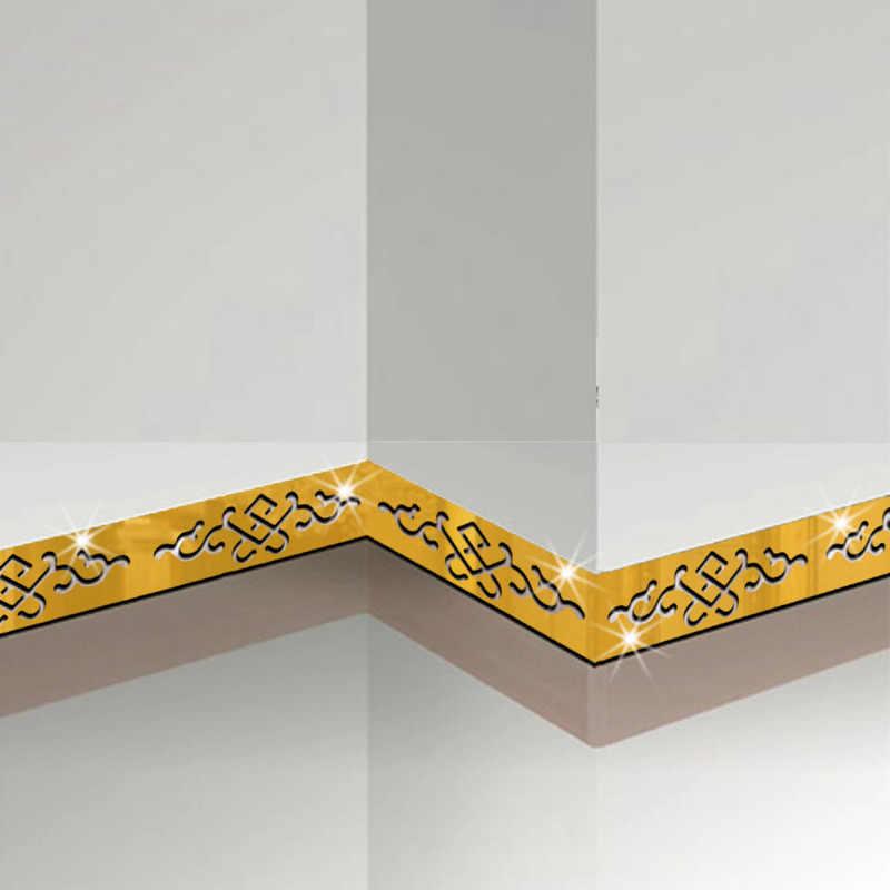 5 piezas de techo TV decoración de pared pegatina 3D espejo de pared pegatinas de cintura línea autoadhesivo pegatinas de pared decoración de casa