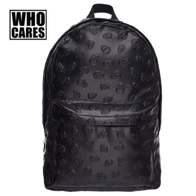 Fashion Backpacks who cares Cool Skull Pattern Black Unisex Preppy School Bags for teenagers Casual Leather Travel Package Bags рюкзаки zipit рюкзак shell backpacks