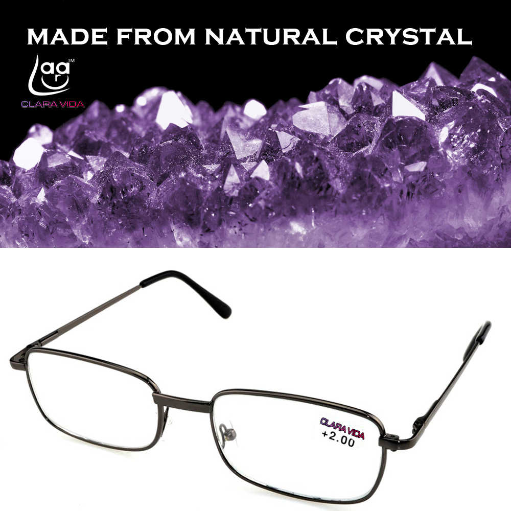 = Clara Vida [!two Pieces!] Full-rim Natural Crystal Lenses Alloy Frame Men Women Reading Glasses +1 +1.5 +2 +2.5 +3 +3.5 +4