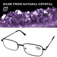 = Clara Vida [! dos piezas!] lentes de cristal Natural de borde completo montura de aleación hombres mujeres gafas de lectura + 1 + 1,5 + 2 + 2,5 + 3 + 3,5 + 4