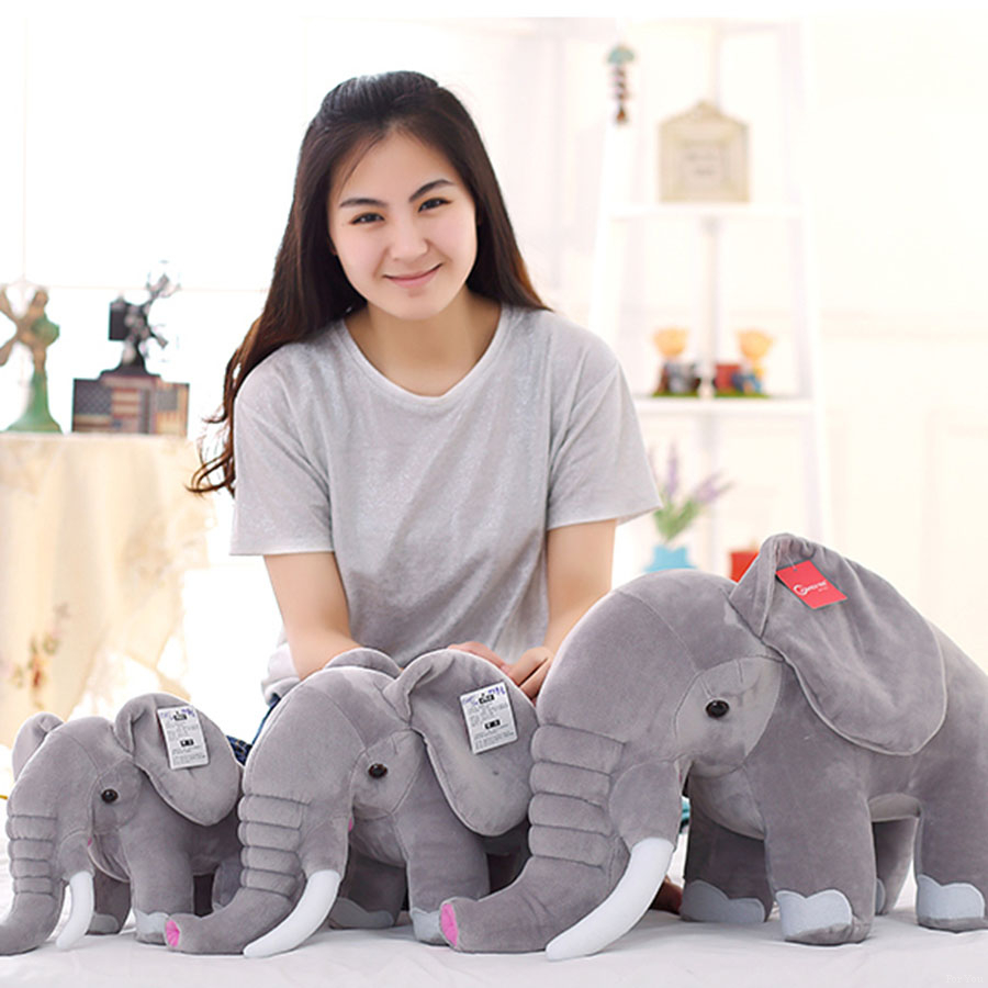 Cute Pillow Elephant Children Soft Plush Toy Doll Stuffed Toys Birthday Gift Totoro Kawaii Animal Big Elephant Plush Toy 70C0303 cute labrador big plush toy lying dog doll search and rescue stuffed toys children birthday gift pillow