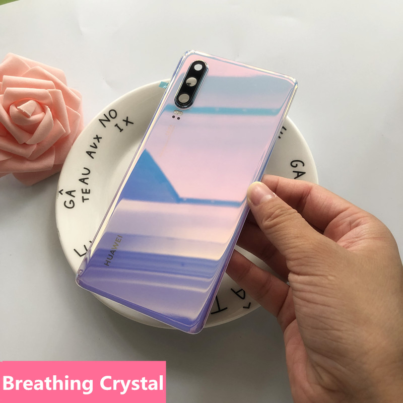 New For P30 Original Spare Parts Back Battery Cover Door Housing + Camera frame For Huawei P30 Tempered Glass Back Cover