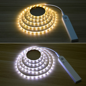 Image 2 - IP65 Waterdichte Led Strip Pir Motion Sensor Licht Smart Turn Op Off Bed Licht Flexiable Led Strip Lamp Voor Kast trappen Keuken