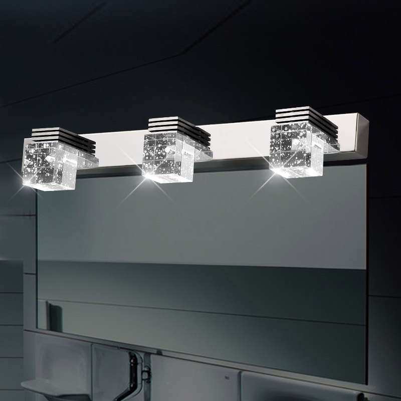 High Power LED Crystal Cube Bathroom Wall lamp Mirror Front Long ...
