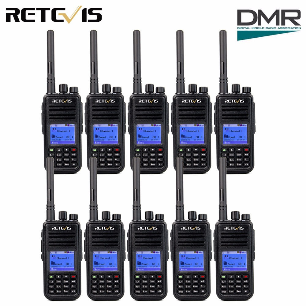 10pcs DMR Radio Retevis RT3 Digital Walkie Talkie UHF 400-480MHz 5W 1000CH 2 Way Radio Ham Radio Hf Transceiver 2 Antenna A9110A