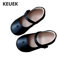 New Spring/Autumn Children Shoes Kids Princess Single Shoes Baby Toddler Soft bottom Leather Shoes Girls Student Black Flats 018
