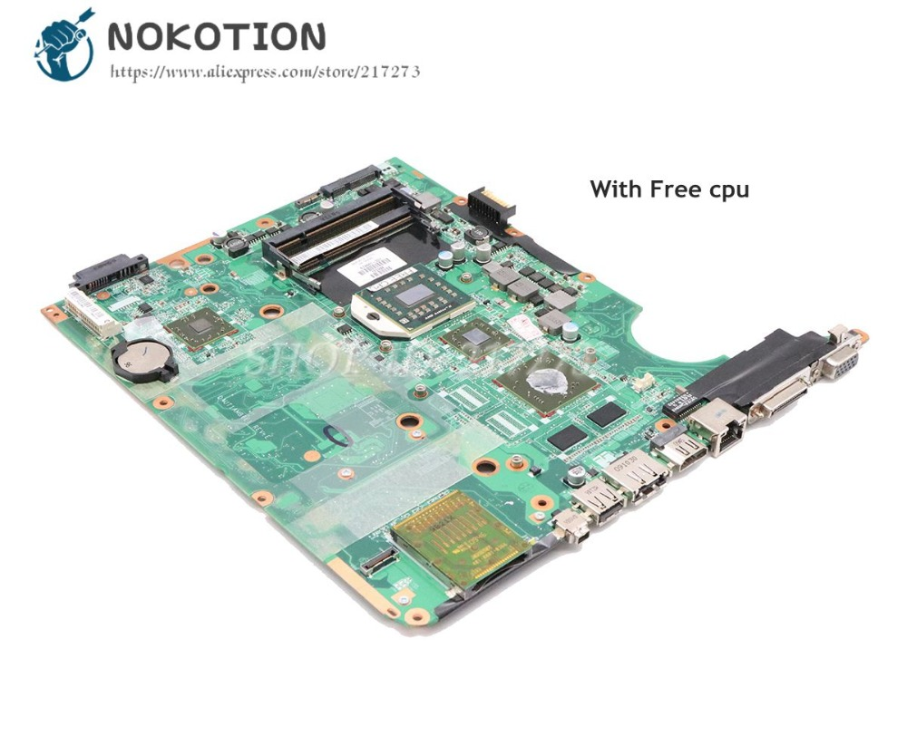 NOKOTION For HP Pavilion DV7 DV7-3000 Laptop Motherboard Socket S1 DDR2 HD4500 Free cpu DAUT1AMB6E0 574681-001 MAIN BOARD 434722 001 main board for hp pavilion dv6000 dv6500 laptop motherboard 945pm ddr2 free cpu with discrete graphics