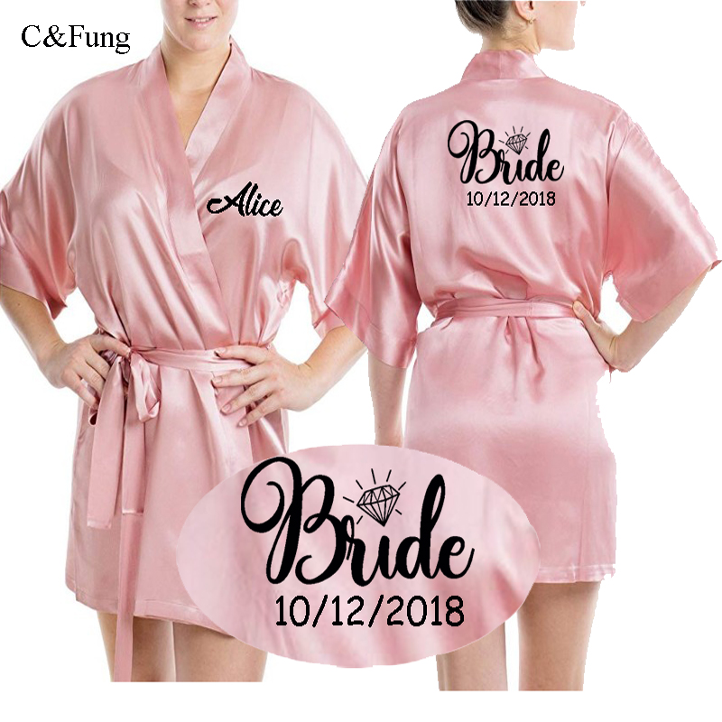C&Fung Personalized Satin silk Bride Robe women custom wedding date Peignoir bridesmaid best gift  bridal pink shower robes(China)