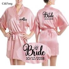 C & fung 맞춤 새틴 실크 신부 가운 여성 맞춤 결혼식 날짜 peignoir 신부 들러리 최고의 선물 신부 핑크 샤워 가운