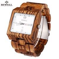BEWELL ZS W100AG Men Quartz Watch Nail Scale Luminous Pointer Date Wooden Wristwatch