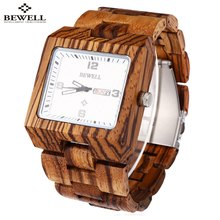 BEWELL Luxury Brand Men Wood Quartz Watch Male Luminous Pointer Calendar Wooden Wrist watch Waterproof Men