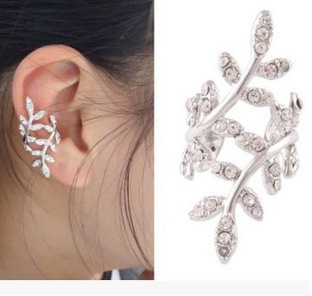 2018 hot sale lovely plum leaves without ear pierced kolczyki earcuff clip earrings without piercing ohrringe ear cuffs aretes золотые серьги по уху