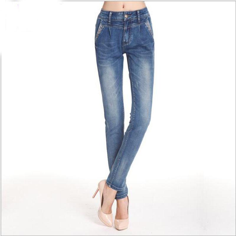 ФОТО 2016The fashion leisure type loose jeans trousers