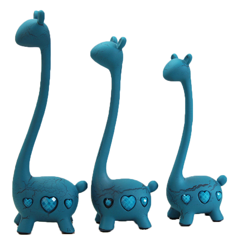 Изделия из смолы современный минималистский синий три оленя фигурные статуэтки дома гостиной украшения олень семейная модель свадебные по