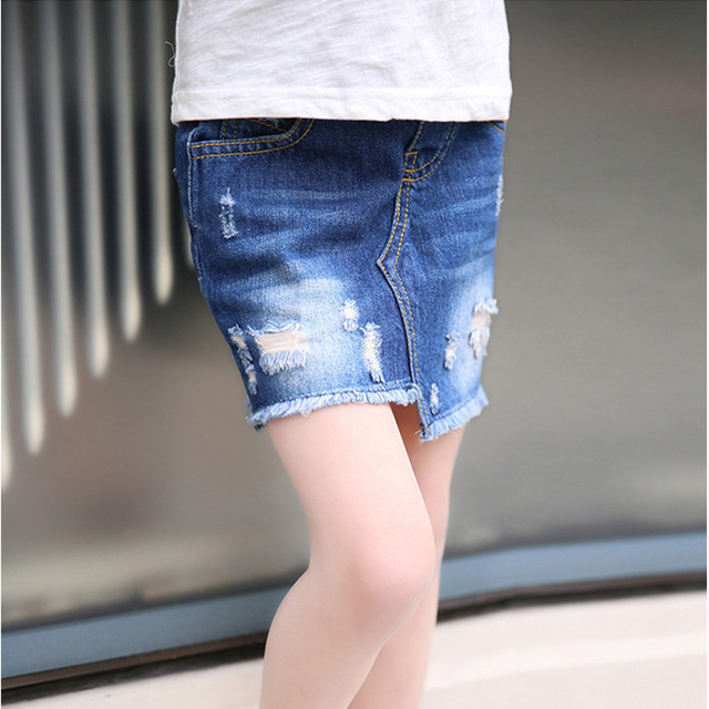 2016 tide jean skirts children  hole  denim bag hip skirt baby girl fashion skirt