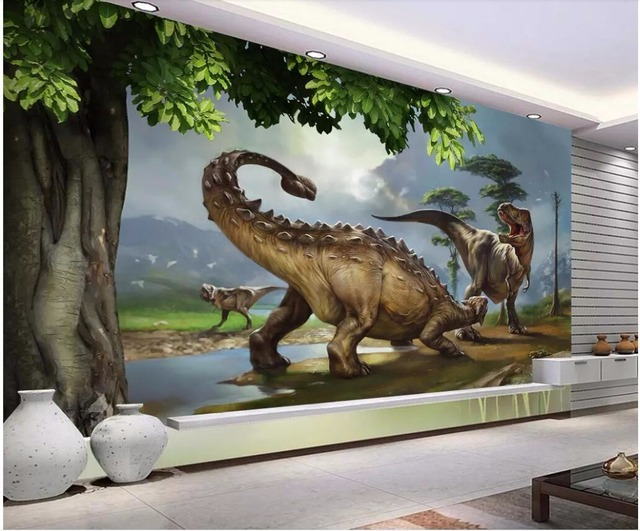 Custom Photo 3d Photo Wall Papers Home Decor Dinosaur Wall Background Jurassic World 3d Wall