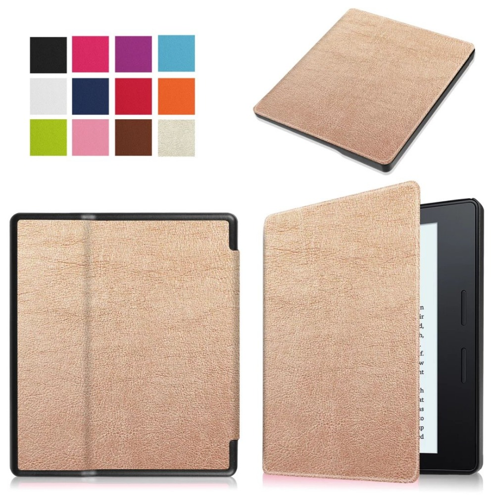 Ultra Slim Caster 3-Folder Folio Flip Stand PU Leather Magnetic Cover Protective Case For Amazon Kindle Oasis 6