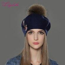 Liliyabaihe Новая женская зимняя шапка шерсть вязаные береты Кепка с Мода Феникс алмаз украшения модные однотонные леди шапка