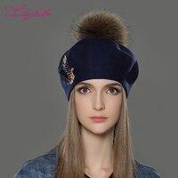 LILIYABAIHE New Women Winter Hat Wool Knitted Berets Cap With Fashion Phoenix Diamond Decoration Solid Colors