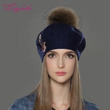 Liliyabaihe 새로운 여성 겨울 모자 양모 니트 베레모 모자 패션 피닉스 다이아몬드 장식 단색 패션 레이디 모자