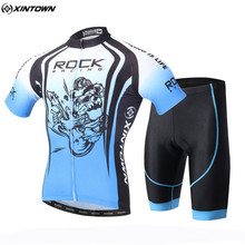 XINTOWN Men Blue Bicycle Cycling Jersey Sets Outdoor Sportswear Roupa Ciclismo Bike Cycling Clothing Set With Bib Shorts CC0616