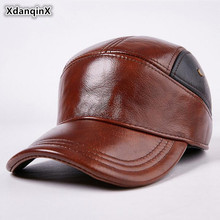 XdanqinX Autumn Winter Genuine Leather Hat Men's Cowhide Leather Baseball Caps Snapback Cap  Adjustable Size Warm Earmuffs Hats unique artificial leather adjustable snapback hat