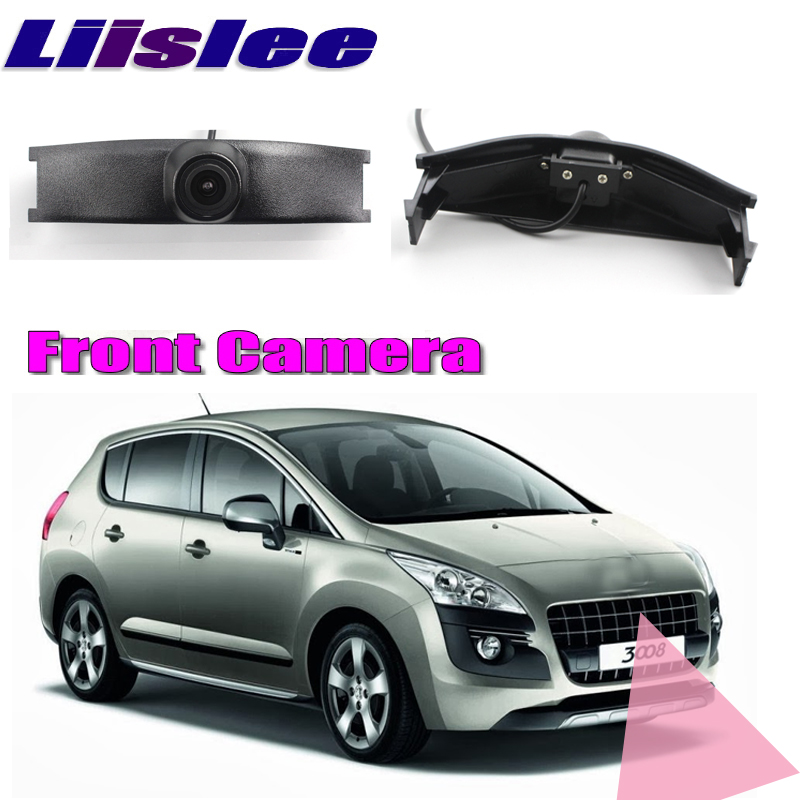 все цены на LiisLee Car Front Camera For Peugeot 3008 2008-2016 Logo Hood Mesh Front Grille CAM DIY Manually Control Channel Front Camera