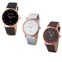Fashion Women's Diamond Leatheroid Band Round Dial Quartz Wrist Watch Fashion Design Watches Wome Simple and comfortable M10