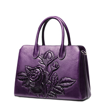 Фотография Women leather handbags high quality real cow genuine leather bags 2017 new fashion chinese style floral casual shoulder tote bag