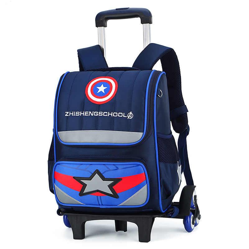 Cartoon print wheel school bags for boy girl Kids travel trolley bag Large  capacity school backpack 89c867e6bff34