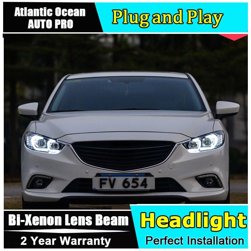 стайлинга автомобилей для АТЕНЗА фары глаза ангела 2014 для АТЕНЗА Би-ксенона двойной спрятанный набор объектив