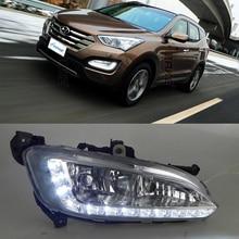 Coche Kit de DRL para HYUNDAI NUEVA SANTA FE IX45 2013-2015 LED la Luz corriente Diurna bar Niebla bulbos de lámpara de luz diurna del coche led drl