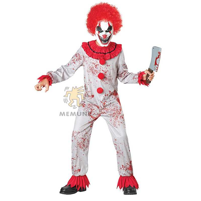 Scary Clown Halloween Costume.Boys Bloody Circus Scary Clown Halloween Costume Have Fun At Any Halloween Party