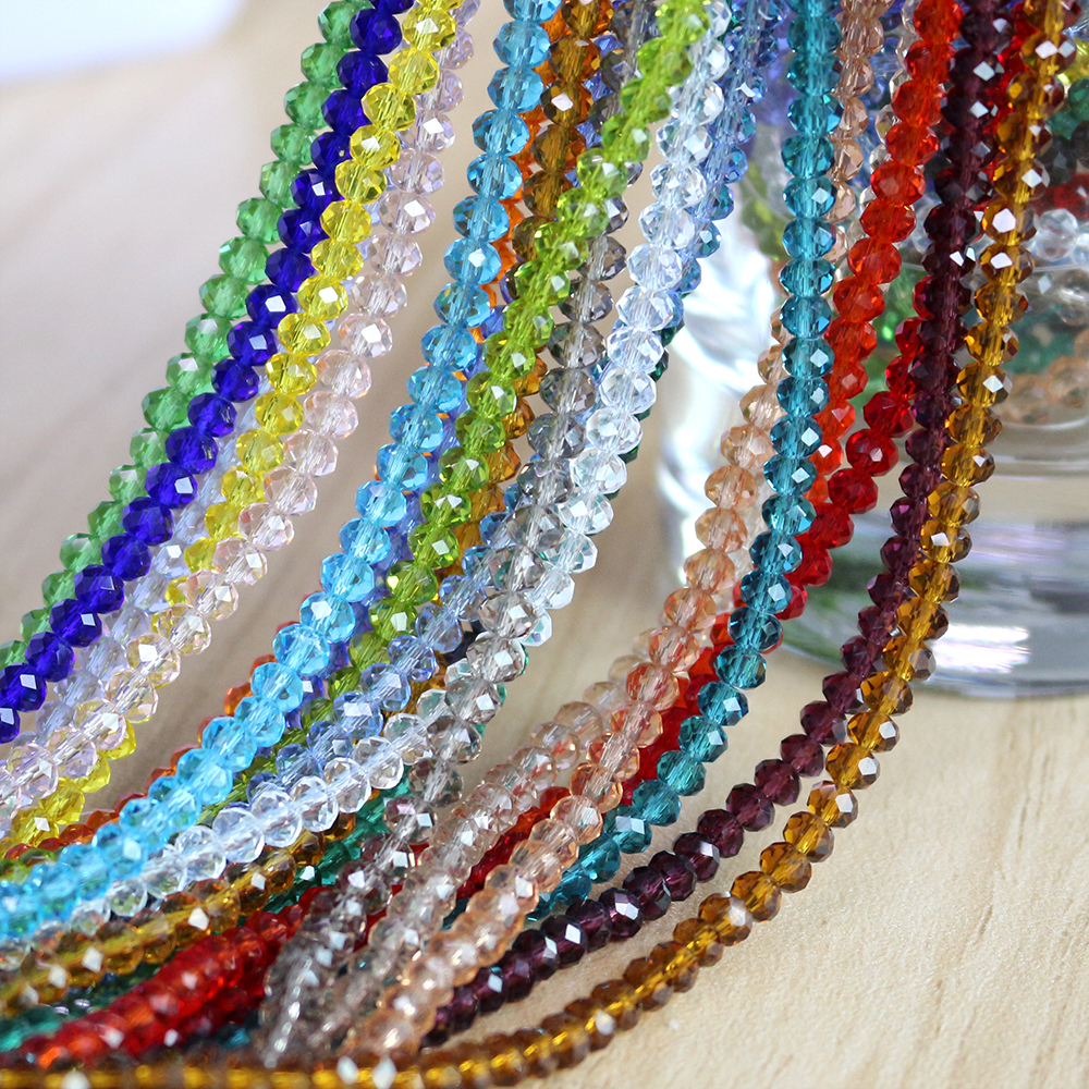 Faceted Rondelle Crystal Glass Beads Loose Spacer 4mm 12mm for Jewellery Making