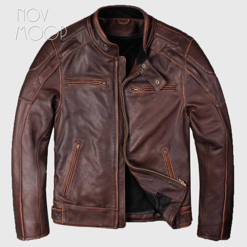 Plus size vintage brown men cow leather motorcycle biker jackets coats thick detachable liner jaqueta de couro deri ceket LT1678 туфли deri