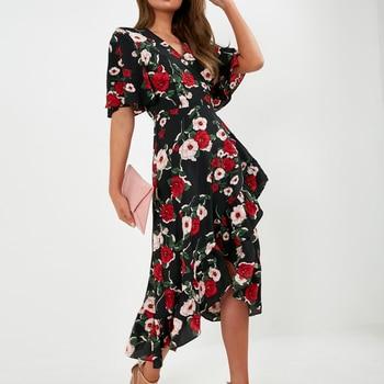 2020 Women Floral Print Chiffon Beach Dress Sexy Slit V-Neck Wrap Party Long Dress Elegant Vintage Ruffles Casual Summer Dress 1
