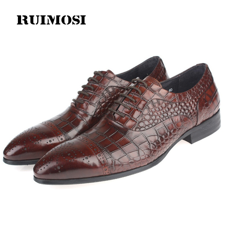RUIMOSI Luxury Brand Man Dress Cap Top Semi Brogue Shoes Genuine Leather Oxfords Pointed Toe Men's Wedding Flats For Bridal NC35