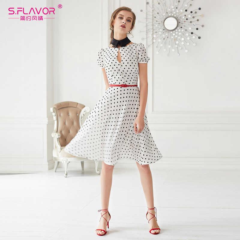 S. вкус женщины винтажное платье Осень Белый Черный горошек платье с коротким рукавом О-образным вырезом выдалбливают Женщины vestidos de festa без ремня