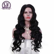 Msiwigs 26 인치 긴 물결 모양 가발 블랙 컬러 자연 헤어 가발 부드러운 합성 가발 흑인 여성을위한 내열성