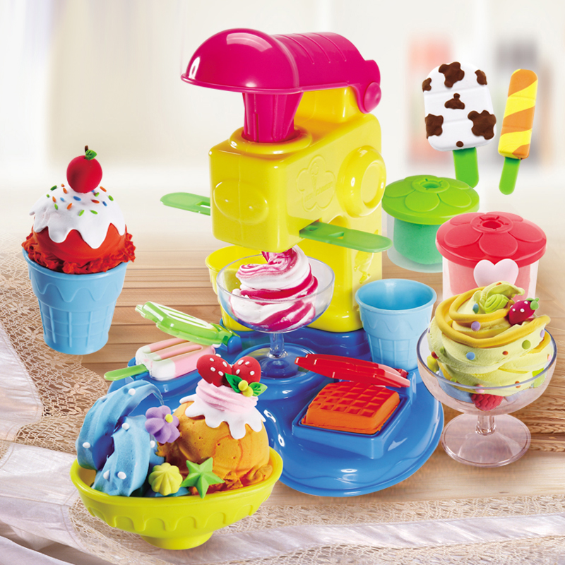 Play-muds 2018 Color Clay Set Child Plasticine Mould Tool Ultra Light Clay Ice Cream Noodle Machine DIY Girl Toys playdough clay dough ice cream mould play kit educational play doh plasticine diy toy
