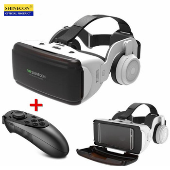 Original VR Virtual Reality 3D Brille Box Stereo VR Google Karton Headset Helm für iOS Android Smartphone, Bluetooth-Wippe