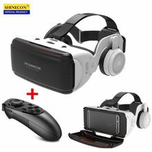 Oryginalna VR wirtualna rzeczywistość 3D pudełko na okulary Stereo VR wyświetlacz zakładany na głowę google cardboard kask na IOS smartfon z androidem Bluetooth Rocker tanie tanio shinecon Smartfony Brak none Biocular Wciągające Virtual Reality Shinecon Go6E VR Glasses Pakiet 1 Shinecon G06E VR Glasses